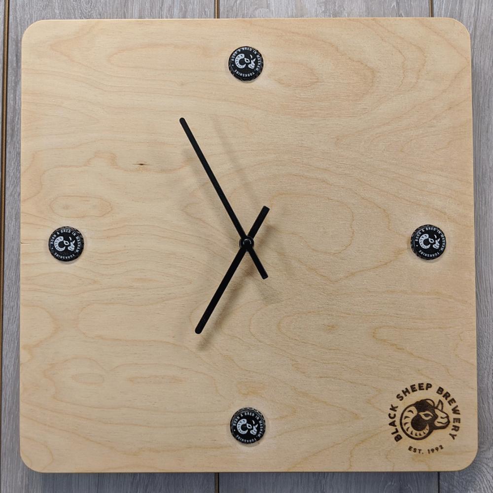 """Black Sheep Brewery 7/"""" wall clock upcycled"""